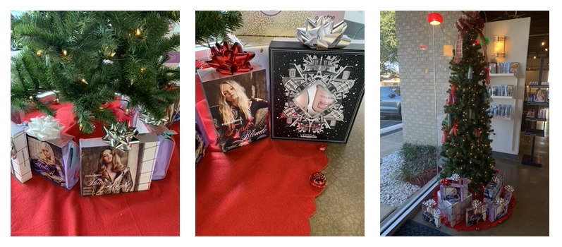three image collage of salon 13500 christmas tree and holiday gift sets